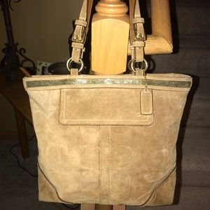 Coach Beaded Suede Tote